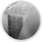 South Tower Reflections In Black And White Round Beach Towel