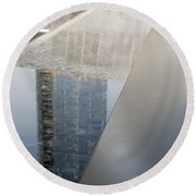 South Tower Reflections Round Beach Towel