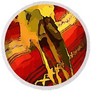 South Western Style Art With A Canadian Moose Skull  Round Beach Towel by John Malone