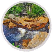 Southeast Brook Above Falls In Gros Morne Np-nl Round Beach Towel