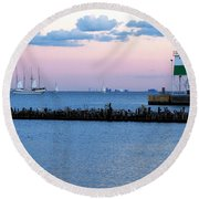 Southeast Guidewall Lighthouse At Sunset And Tall Ship Windy Round Beach Towel