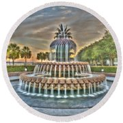 Southern Charm Pineapple Round Beach Towel