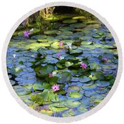 Southern Lily Pond Round Beach Towel