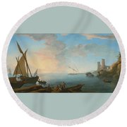 Southern Mediterranean Seascape With Boats And Figures At Sunset Round Beach Towel