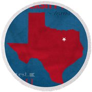 Southern Methodist University Mustangs Dallas Texas College Town State Map Poster Series No 098 Round Beach Towel
