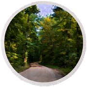 Southern Missouri Country Road I Round Beach Towel