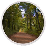 Southern Missouri Country Road II Round Beach Towel