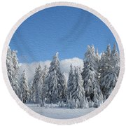 Southern Oregon Forest In Winter Round Beach Towel
