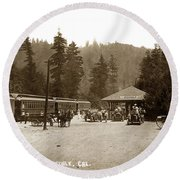 Southern Pacific Depot At Brookdale Santa Cruz Co. Cal. Circa 1910 Round Beach Towel