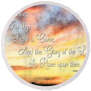 Southern Sunset - Digital Paint IIi With Verse Round Beach Towel