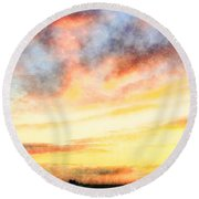 Southern Sunset - Digital Paint Iv Round Beach Towel