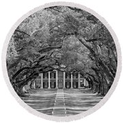 Southern Time Travel Bw Round Beach Towel