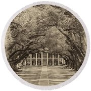 Southern Time Travel Sepia Round Beach Towel