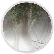 Southern Trees Have Curves Round Beach Towel
