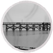 Southport Fishing Pier Round Beach Towel