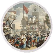 Southwark Fair, 1733, Illustration Round Beach Towel