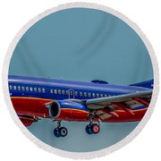Southwest 737 Landing Round Beach Towel