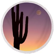 Southwest Desert Moon Glow Round Beach Towel