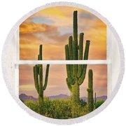 Southwest Desert Sunset White Rustic Distressed Window Art Round Beach Towel