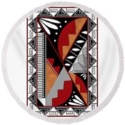 Southwest Collection - Design Seven In Red Round Beach Towel