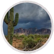 Southwest Monsoon Skies  Round Beach Towel