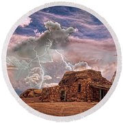 Southwest Navajo Rock House And Lightning Strikes Hdr Round Beach Towel