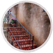 Southwest Staircase Round Beach Towel