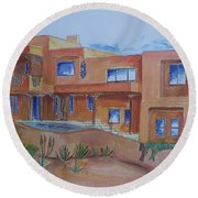 Southwestern Home Illustration Round Beach Towel