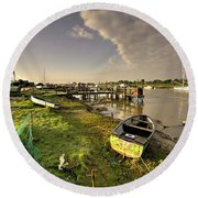 Southwold Harbour  Round Beach Towel