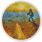 Sower Of Squiggles Round Beach Towel