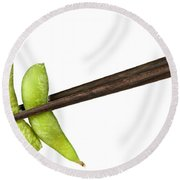 Soy Beans With Chopsticks Round Beach Towel