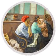 Soyer's A Railroad Station Waiting Room Round Beach Towel