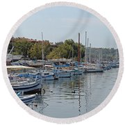 Sozopol Harbour Bulgaria. Round Beach Towel