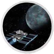 Space Exploration, Moon, Illustration Round Beach Towel