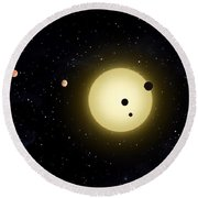 Space Kepler 11 Introduction Round Beach Towel
