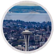 Space Needle 12th Man Seahawks Round Beach Towel