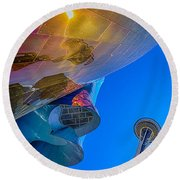 Space Needle And Emp In Perspective Hdr Round Beach Towel