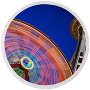 Space Needle And Wheel Round Beach Towel