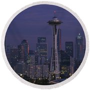 Space Needle At Twilight Round Beach Towel