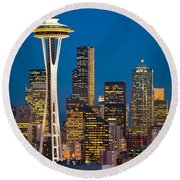 Space Needle Evening Round Beach Towel
