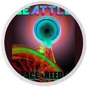 Space Needle Poster Work A Round Beach Towel