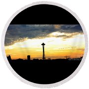 Space Needle Sunset Sillouette Round Beach Towel