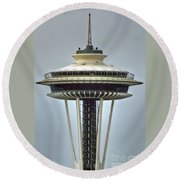 Space Needle Tower Seattle Washington Round Beach Towel