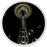 Space Needle With Bubbles 1 Round Beach Towel