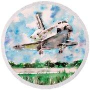 Space Shuttle Landing Round Beach Towel