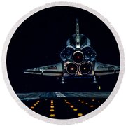 Space Shuttle Night Landing Round Beach Towel