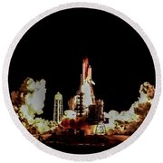 Space Shuttle Night Launch Round Beach Towel