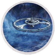 Deep Space Eight Station Of The Future Round Beach Towel