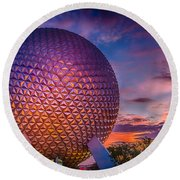 Spaceship Earth Glow Round Beach Towel