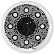 Spaceship Round Beach Towel
